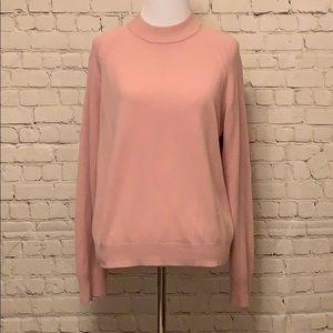 Pink Sweater & Crochet Scarf Set